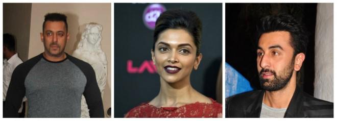 Salman Khan, Deepika Padukone and Ranbir Kapoor