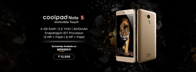 Coolpad Note 5 with 4GB RAM, Snapdragon 617 CPU launched at Rs. 10,999