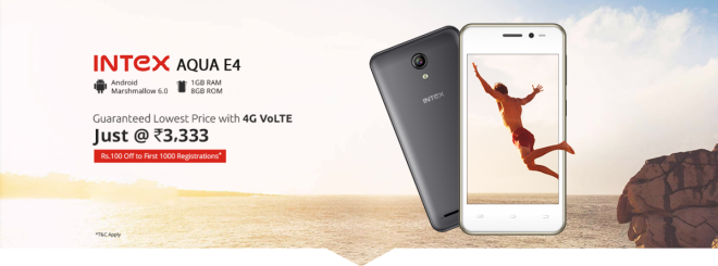 Intex Aqua E4 with 4G VoLTE launched at Rs. 3,333