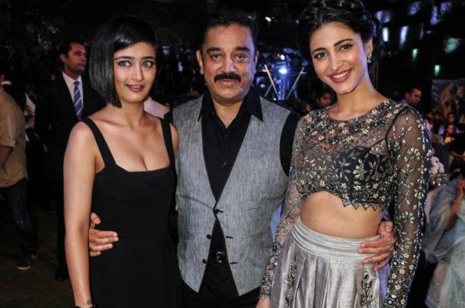 Kamal Haasan with his daughters Shruti and Akshara