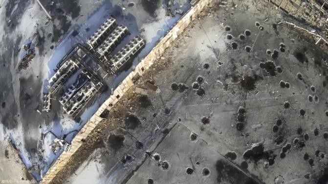 An aerial footage shot by a drone shows the shell craters at the Sergey Prokofiev International Airport damaged by shelling during fighting between pro-Russian separatists and Ukrainian government forces, in Donetsk, eastern Ukraine