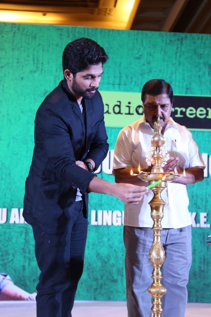 Allu Arjun,Allu Sirish,Lingusamy,Allu Arjun in Chennai,Allu Arjun and Lingusamy,Studio Green Production No 12 Launch,Allu Arjun in Tamil movie,Allu Arjun debut in tamil,Allu Arjun tamil debut