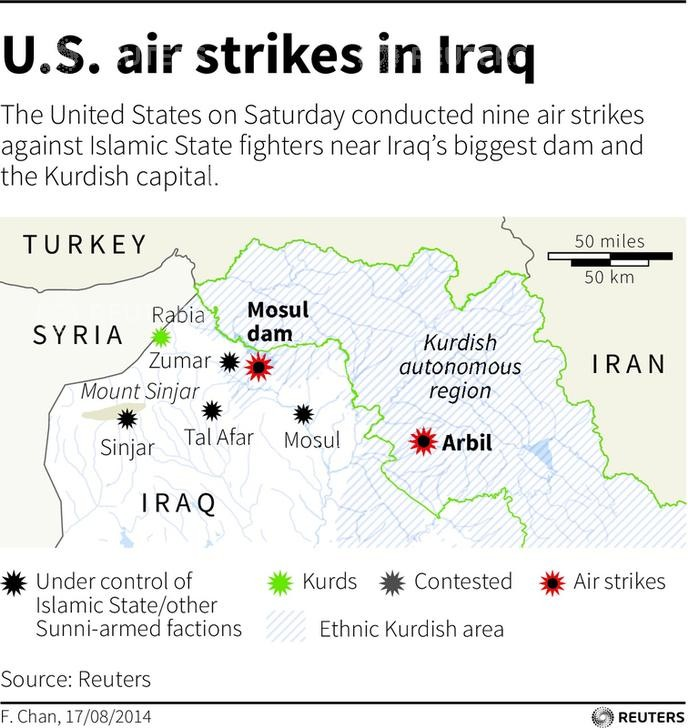 Airstrikes on IS militants, Mosul Dam