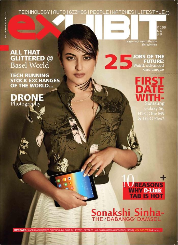 Sonakshi Sinha on the cover page of Exhibit magazine
