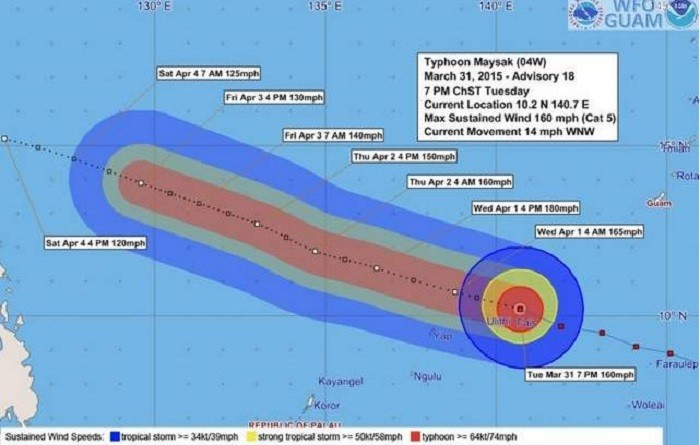 Maysak Intensifies to Super Typhoon Over Pacific and set to batter Philippines on Sunday.