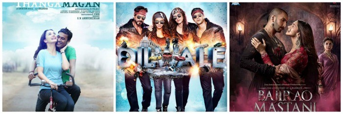 Thanga Magan, Dilwale off to a good opening, Bajirao Mastani gets average start on first day