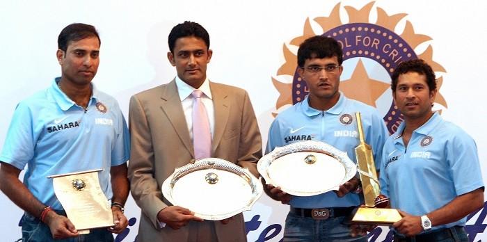 VVS Laxman, Anil Kumble, Sourav Ganguly, Sachin Tendulkar, India