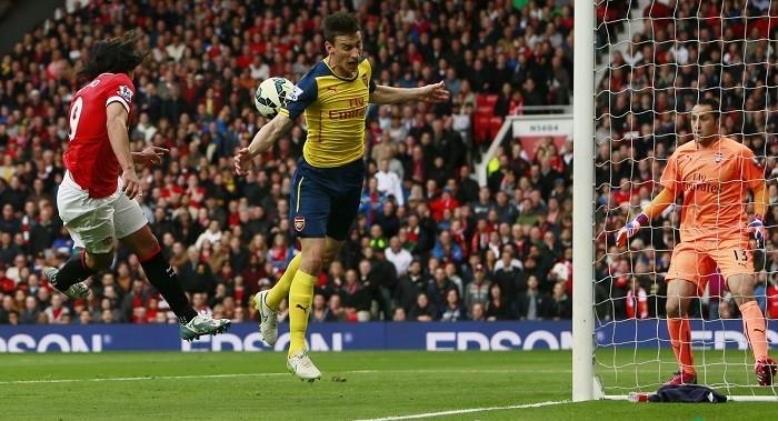 Laurent Koscielny David Ospina Arsenal Radamel Falcao Manchester United