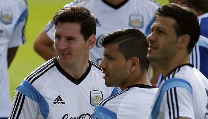 Lionel Messi Sergio Aguero Martin Demichelis Argentina