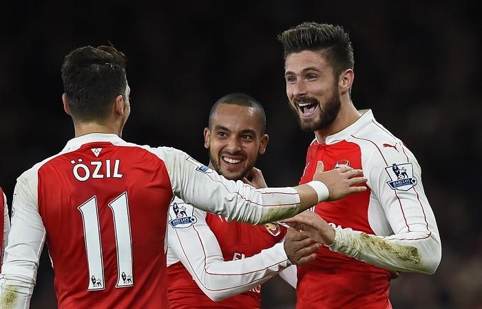 Mesut Ozil Theo Walcott Olivier Giroud Arsenal
