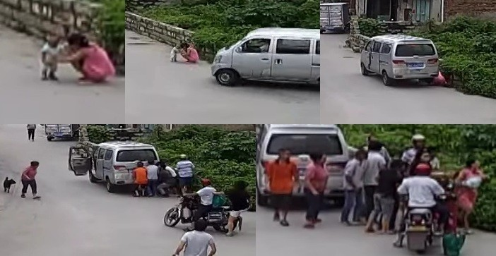 11-month-old toddler saved from under wheels of passing van 13 seconds after being hit in SE China