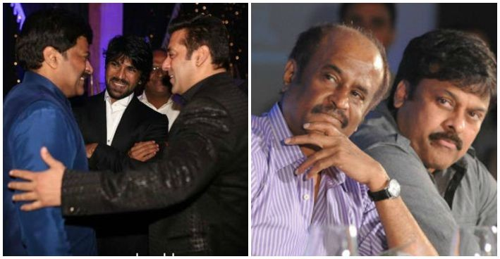 Chiranjeevi with Salman Khan and Rajinikanth