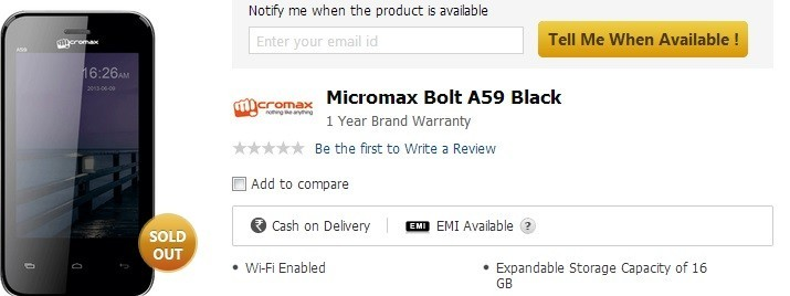 Micromax Bolt A28 and Bolt A59 Android Smartphones Make Online Debut; Price and Specification Details