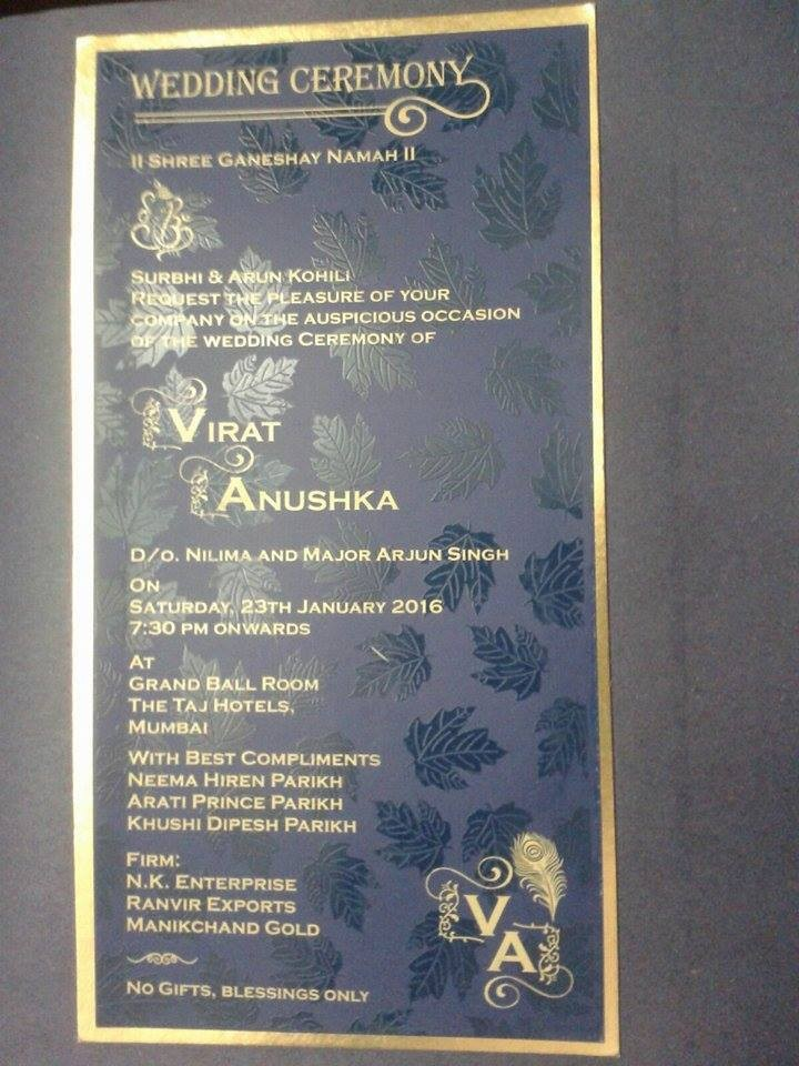 Fake Wedding Card Of Virat Anushka Goes Viral