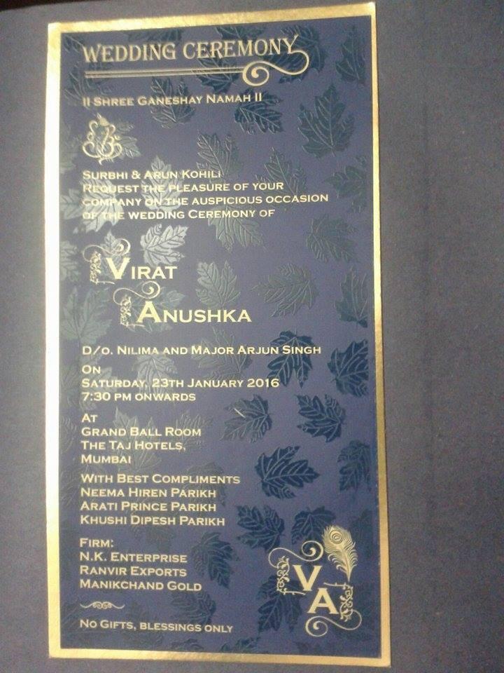 Anushka sharma virat kohli,virat kohli wedding,virat anushka wedding,virat anushka wedding card,fake wedding card of virat anushka