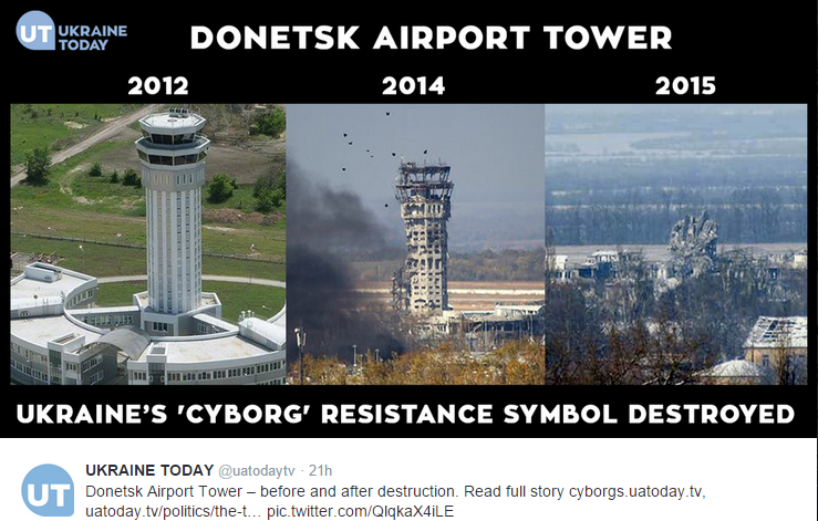 A report by Ukraine Today shows the fully destroyed air traffic control tower at Donetsk airport.