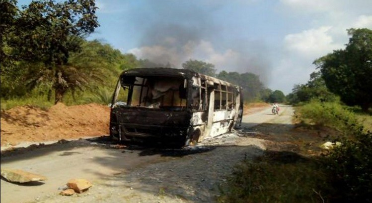 Naxal set afire vehicles