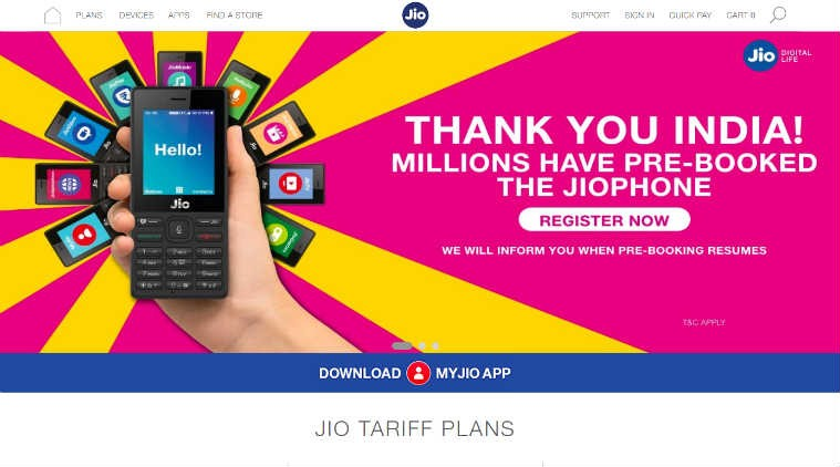 Reliance Jio temporarily discontinues pre-booking of Jio phone