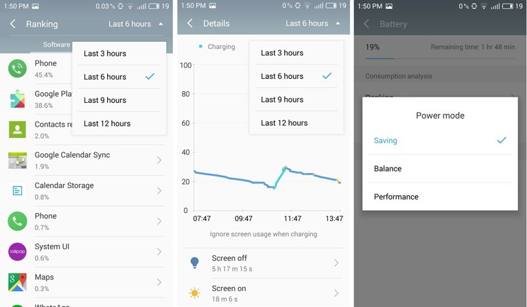 Meizu M3 Note review: Battery and power saving option