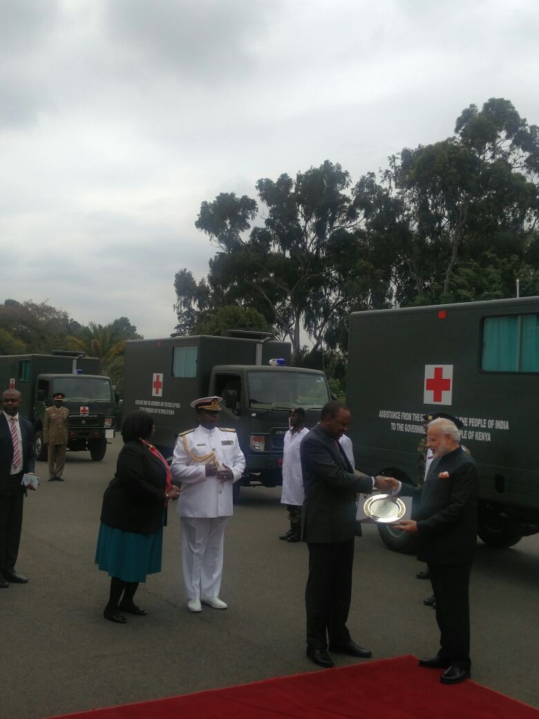 India gifts 30 field ambulances to Kenya,India gifts ambulances to Kenya,ambulances,Narendra Modi,Prime Minister Narendra Modi,India-Kenya,Kenyan President Uhuru Kenyatta,Uhuru Kenyatta,Modi,Modi in Kenya