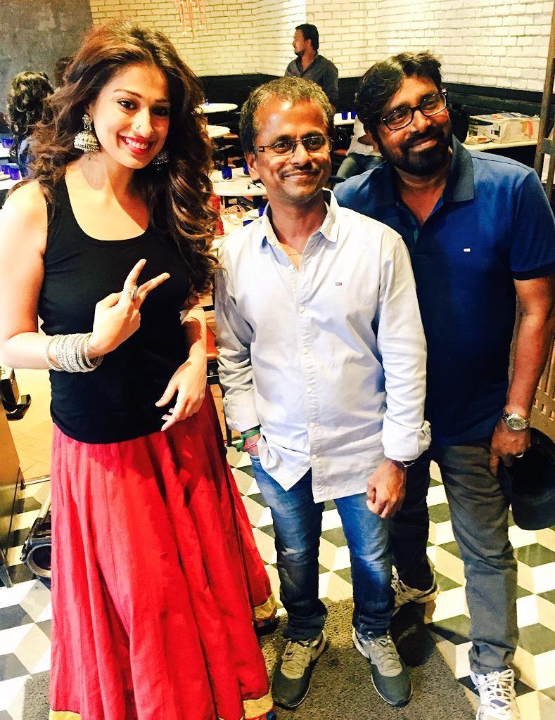 Rai Laxmi with AR Murugadoss on the set of Akira