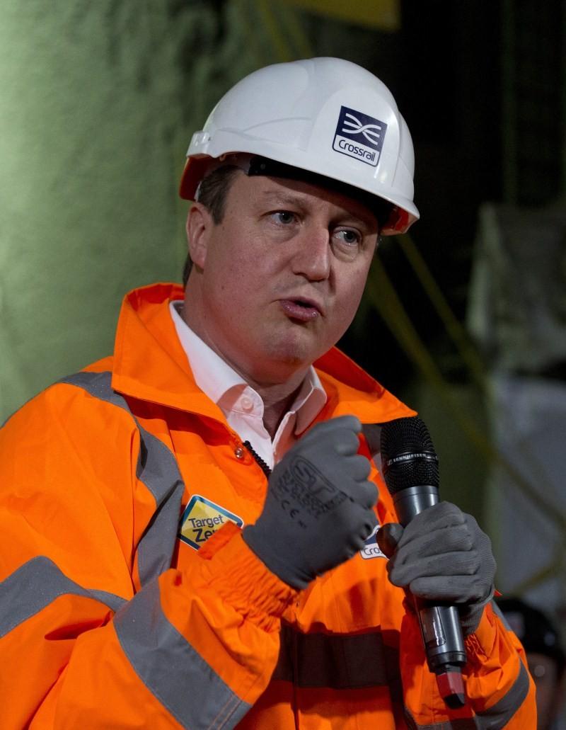 Britain's Prime Minister David Cameron,Construction Site,Prime Minister David Cameron,David Cameron,Crossrail Farringdon station,London