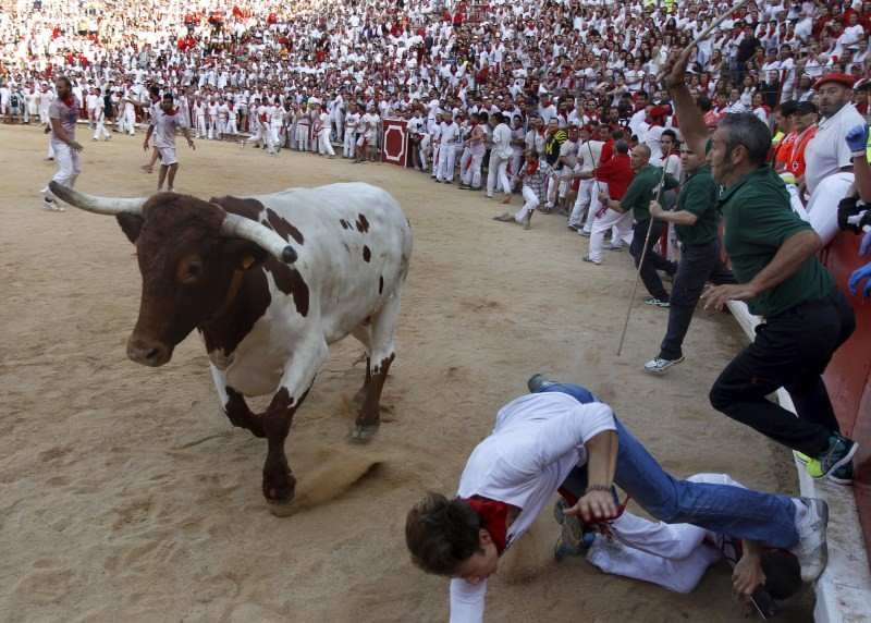 Spain's San Fermin festival,1 person gored,Jandilla fighting bulls,fighting bulls,San Fermin festival