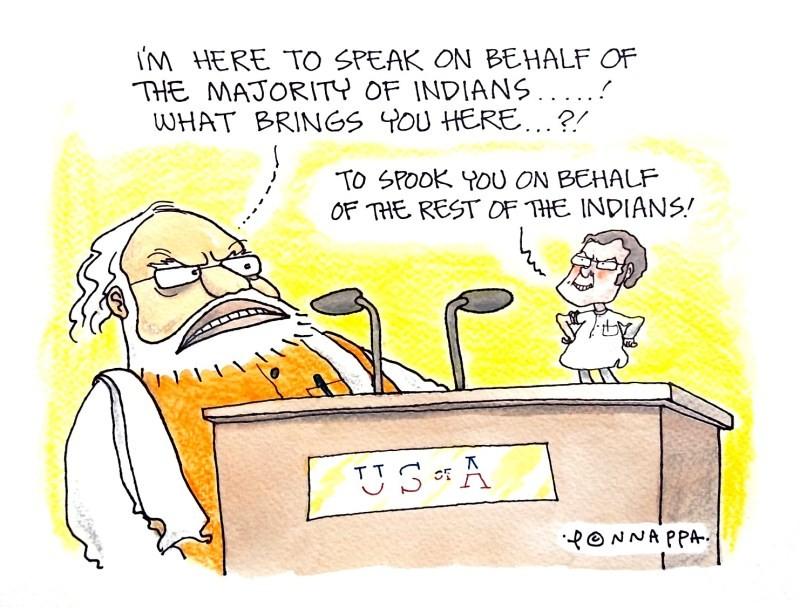 IBTimes Daily Cartoon,Daily Cartoon,Cartoon pics,Cartoon images,Cartoon stills,Cartoon pictures,Ponnappa,Ponnappa cartoon,Modi and Rahul in the US cartoon,Modi in US cartoon,Modi cartoon,Rahul cartoon