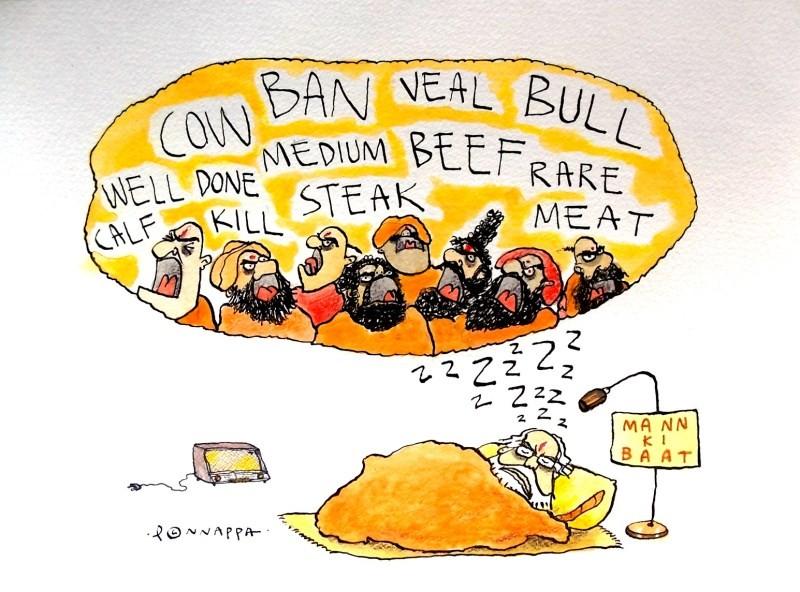 IBTimes Daily Cartoon,Daily Cartoon,Cartoon,Cartoon pictures,Cartoon images,Cartoon photos,Cartoon stills,Ponnappa,Ponnappa cartoon,news in cartoon,Beef Ban,Beef Ban in cartoon