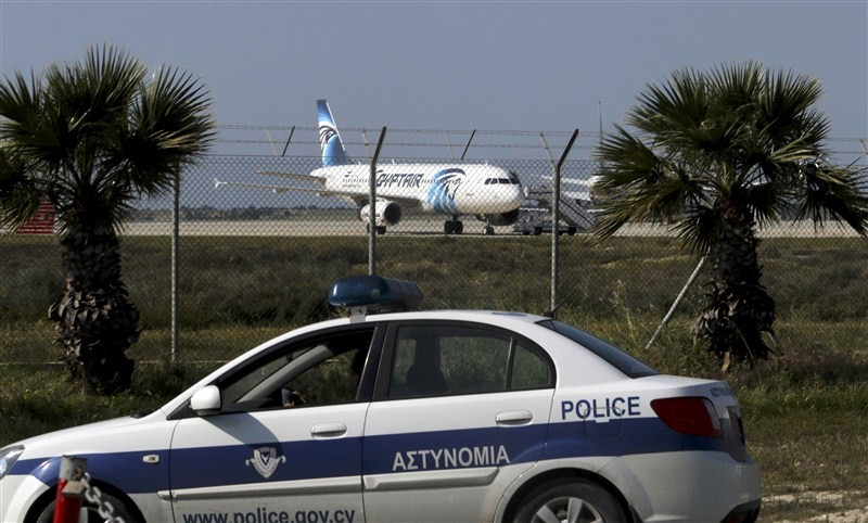 EgyptAir,EgyptAir plane hijacked,EgyptAir flight MS181,EgyptAir flight hijacked,explosives,Cyprus,EgyptAir plane landed at Larnaca airport,EgyptAir MS181,MS181,Cypriot anti-terrorism
