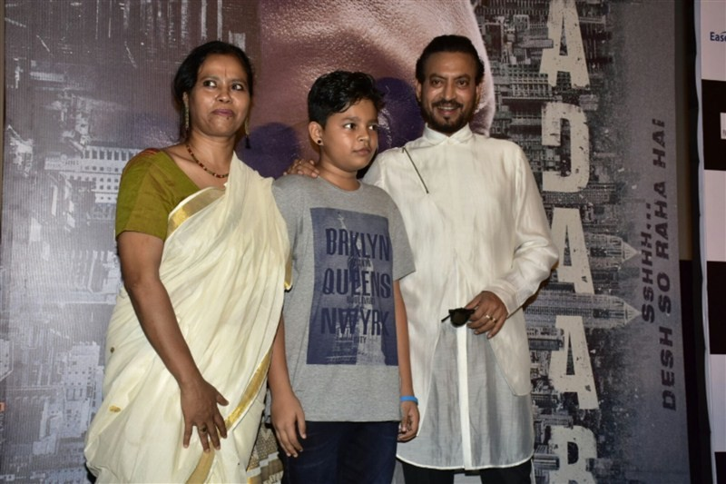 Irrfan Khan,Irrfan Khan with his son,Madaari trailer,Madaari,Madaari trailer launch,Madaari trailer launch pics,Madaari trailer launch images,Madaari trailer launch photos,Madaari trailer launch stills,Madaari trailer launch pictures,Ayan Khan