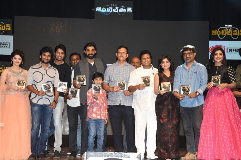 Gentleman Audio Launch,Gentleman,Gentleman Audio,Telugu movie Gentleman,Nani's Gentleman Audio Launch,Nani,Surabhi,Niveda Thomas,Sri Mukhi,Eesha,Mohan Krishna Indraganti,Mani Sharma,Rana Daggubati,Gentleman Audio Launch pics,Gentleman Audio Launch im