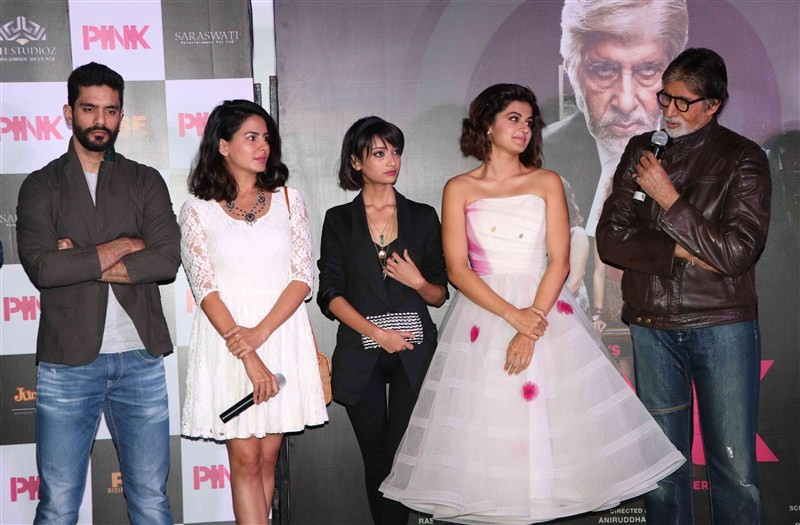 Pink Trailer launch,Pink Trailer,Amitabh Bachchan,Taapsee Pannu,Kirti Kulhari,Andrea Tariang,Angad Bedi,Pink Trailer launch pics,Pink Trailer launch images,Pink Trailer launch photos,Pink Trailer launch stills,Pink Trailer launch pictures