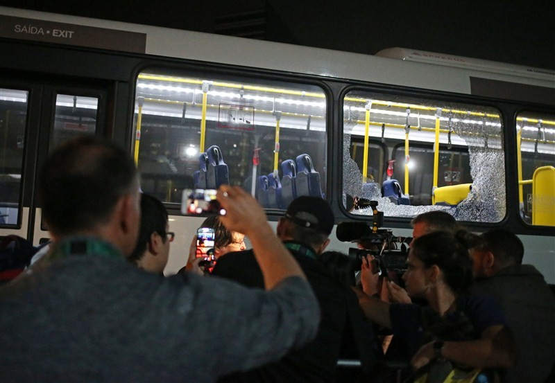 Olympic media bus attacked,Olympic bus attacked,Barra Olympic park,Rio,Rio Olympic attack,Rio Olympic 2016,Olympic media
