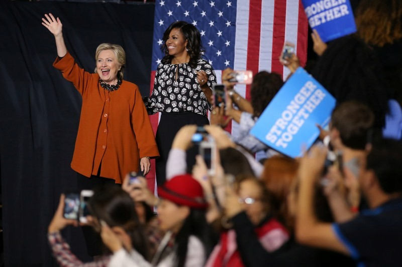 US election 2016,US election,Hillary Clinton,Michelle Obama,Hillary Clinton and Michelle Obama,First lady Michelle Obama,Michelle Obama campaigns with Clinton,Michelle Obama joins Hillary Clinton