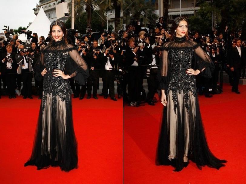 Actress Sonam Kapoor at Cannes red carpet 2012. Image Credit: Twitter/ Sonam kapoor