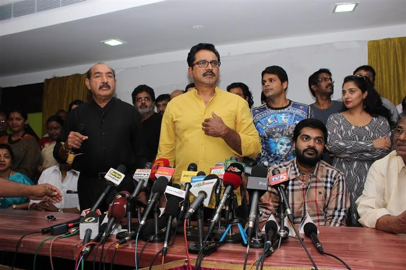 Simbu,actor simbu,Simbu at Nadigar Sangam Election Press Meet,Nadigar Sangam Election Press Meet,Nadigar Sangam Election,Radhika Sarathkumar,Sarathkumar