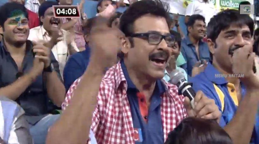 Victory Venkatesh cheering the crowd at the stars' Kabaddi match held by Memu Saitam.