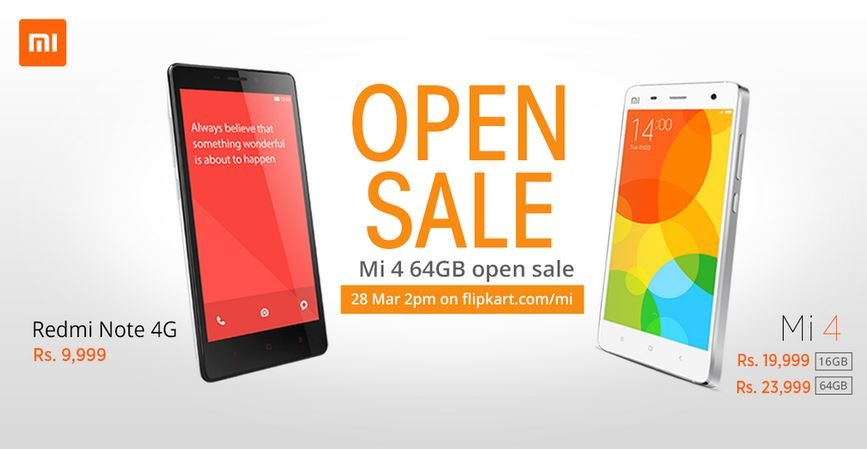 Xiaomi Mi4 (64GB) Flipkart Open Sale to go Live on 28 March; No Registration Required