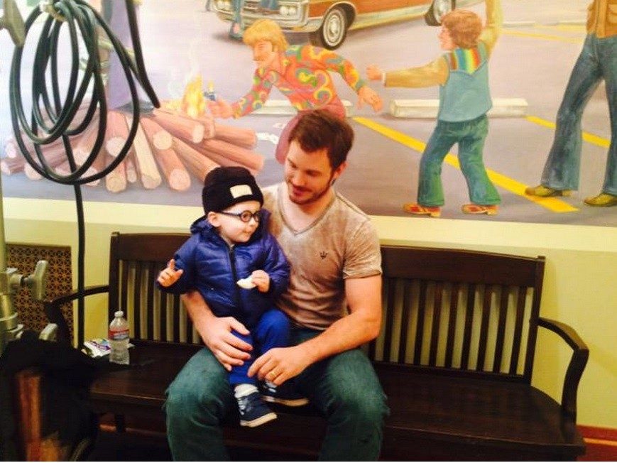 Chris Pratt on the Sets of' Parks and Recreation' with son Jack