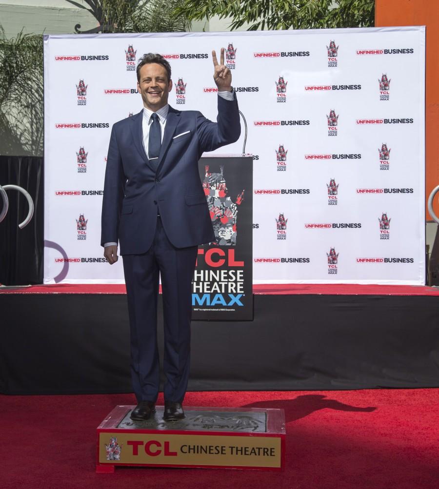 Vince Vaughn,handprints,footprints,TCL Chinese theatre,Hollywood,Jon Favreau,James Marsden,photos