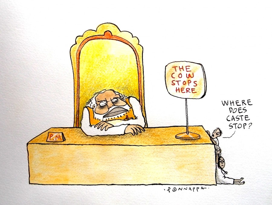 Dalit killing,beef ban,cartoon against beef ban,cartoon against dalit killing,beef ban in india,Ponnappa cartoons,dalit killing caricature,beef ban caricature