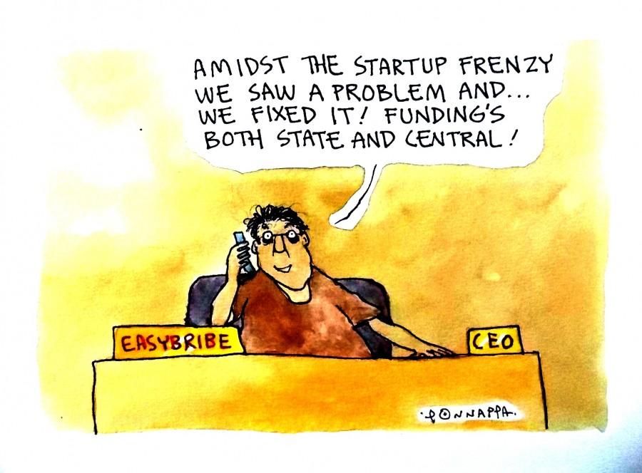 IBTimes Cartoon,Ponappa Cartoon,Start-up India,Modi Star-up event cartoon