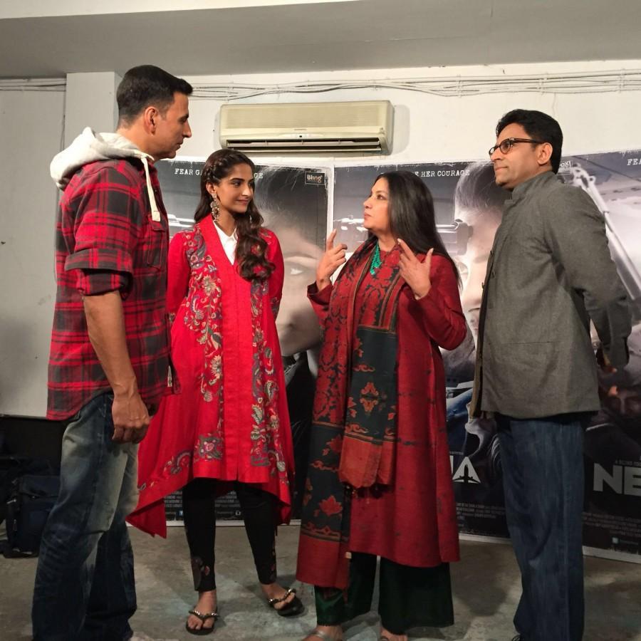 Akshay Kumar,Akshay Kumar visits team Neerja During promotion,Akshay Kumar at Neerja During promotion,Neerja promotion,Neerja movie promotion,Sonam Kapoor,actress Sonam Kapoor,airlift,Airlift actor
