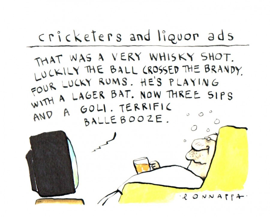 Cricketers and liquor ads,Cricketer ads,liquor ads,liquor cartoon