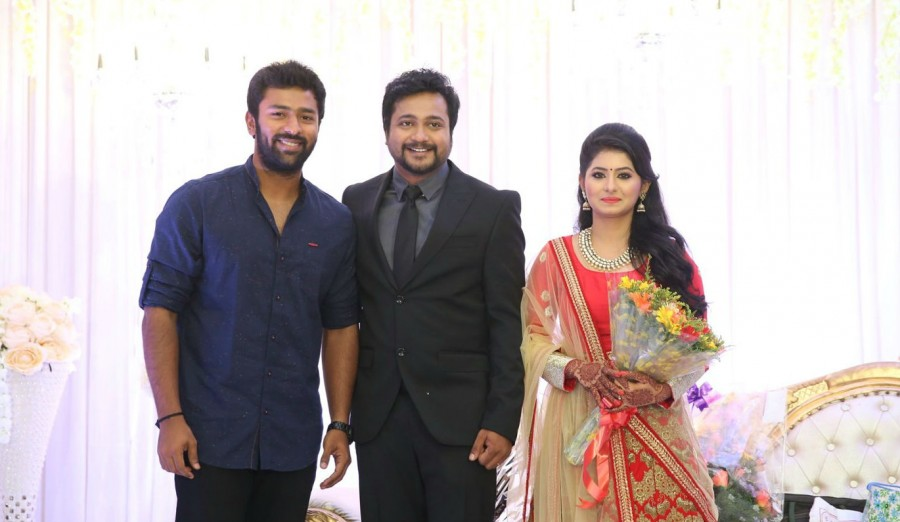 Bobby Simhaa,Bobby Simhaa wedding reception,Bobby Simhaa & Reshmi Menon's wedding reception,Reshmi Menon's wedding reception,Bobby Simhaa reception,Rana Daggubati,Arya,Shanthanu Bhagyaraj,Vivek,Cell Murugan,Bobby Simhaa wedding reception pic