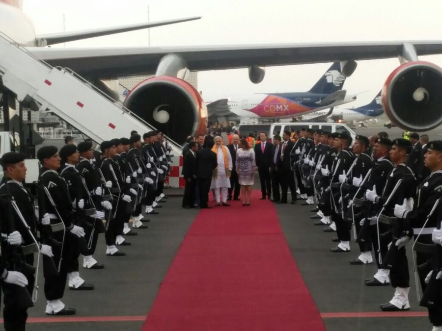 Narendra Modi,PM Narendra Modi,PM Narendra Modi arrives in Mexico,PM Modi,modi five-nation tour,Claudia Ruiz Massieu,Mexican Foreign Minister Claudia Ruiz Massieu