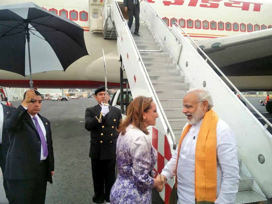 Narendra Modi,PM Narendra Modi,PM Narendra Modi arrives in Mexico,PM Modi,modi five-nation tour,Claudia Ruiz Massieu,Mexican Foreign Minister Claudia Ruiz Massieu