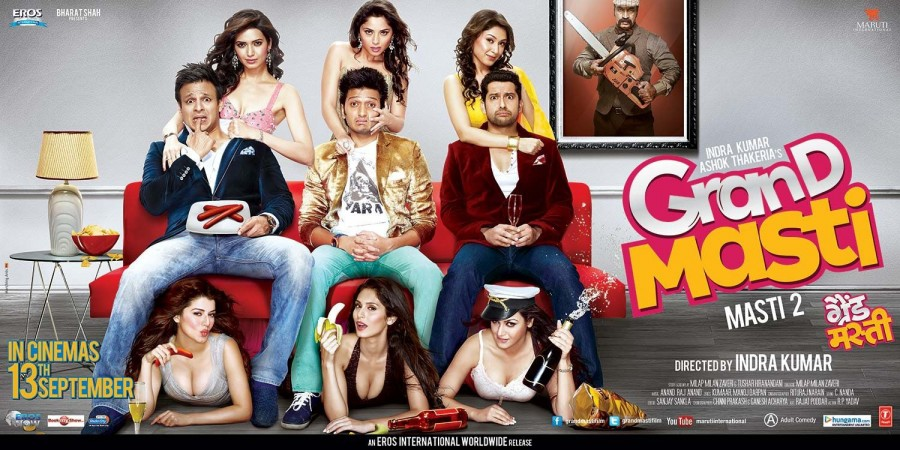 Great Grand Masti,Great Grand Masti first look,Great Grand Masti poster,Great Grand Masti first look poster,Ritesh Deshmukh,Vivek Oberoi,Aftab Shivdasani,Urvashi Rautela,Pooja Bose,Great Grand Masti trailer,Great Grand Masti pics,Great Grand Masti images