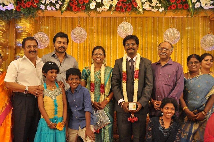 SP Muthuraman's daughter Wedding Reception photos,Rajinikanth,Karthi,Khushboo,Sivakumar,Bhagyaraj,Muthuraman's daughter marriage photos